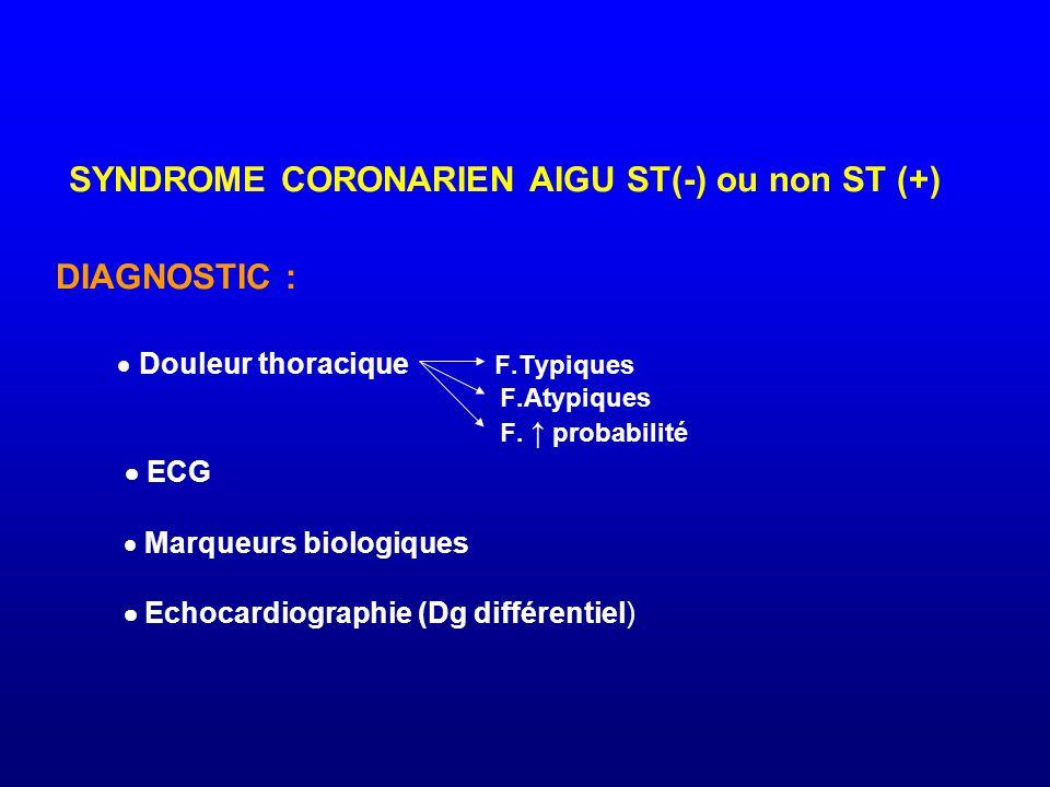 SYNDROME CORONARIEN AIGU ST(-) ou non ST (+) DIAGNOSTIC :  Douleur thoracique F.Typiques F.Atypiques F. ↑ probabilité  ECG  Marqueurs biologiques 
