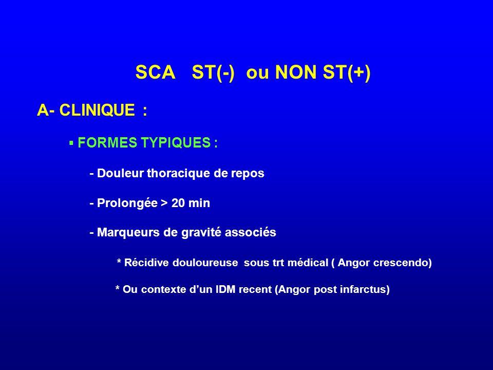 SCA ST(-) ou NON ST(+) A- CLINIQUE : ▪ FORMES TYPIQUES : - Douleur thoracique de repos - Prolongée > 20 min - Marqueurs de gravité associés * Récidive