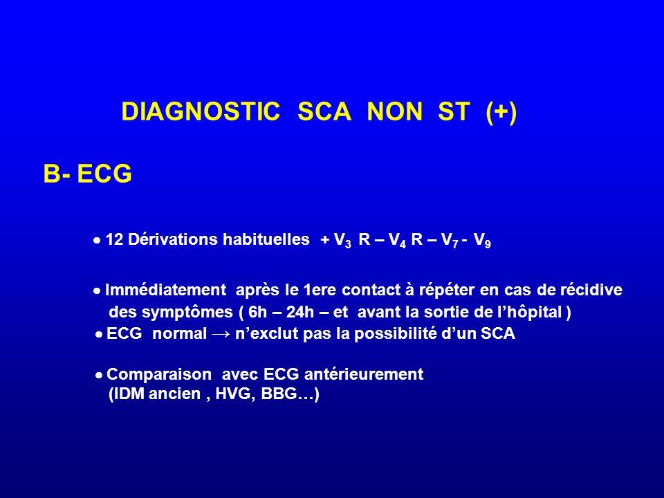 DIAGNOSTIC SCA NON ST (+) B- ECG  12 Dérivations habituelles + V 3 R – V 4 R – V 7 - V 9  Immédiatement après le 1ere contact à répéter en cas de ré