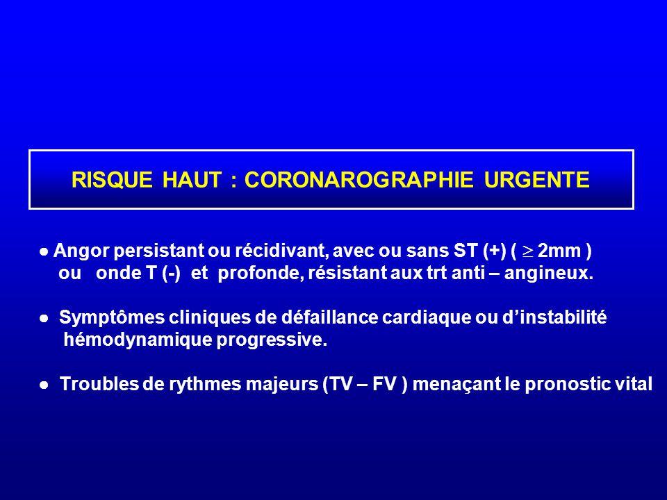 ● Angor persistant ou récidivant, avec ou sans ST (+) (  2mm ) ou onde T (-) et profonde, résistant aux trt anti – angineux. ● Symptômes cliniques de