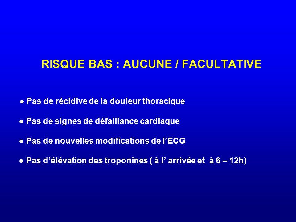 RISQUE BAS : AUCUNE / FACULTATIVE ● Pas de récidive de la douleur thoracique ● Pas de signes de défaillance cardiaque ● Pas de nouvelles modifications