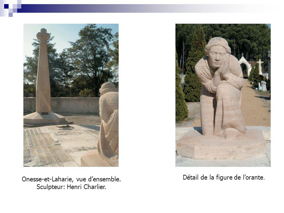 Onesse-et-Laharie, vue d'ensemble. Sculpteur: Henri Charlier. Détail de la figure de l'orante.