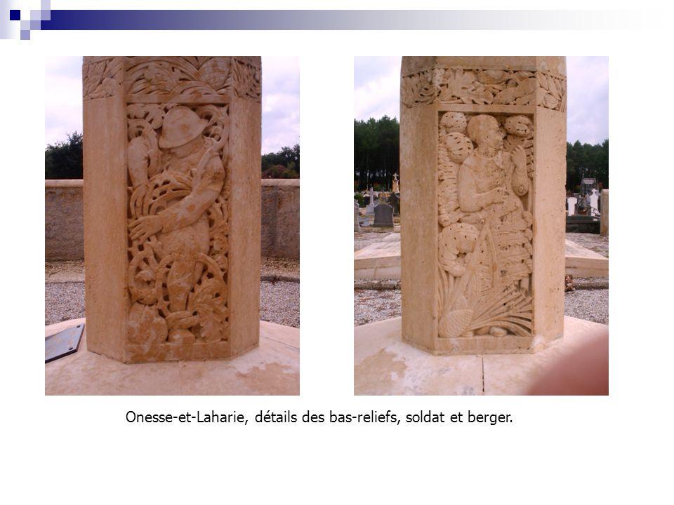 Onesse-et-Laharie, détails des bas-reliefs, soldat et berger.