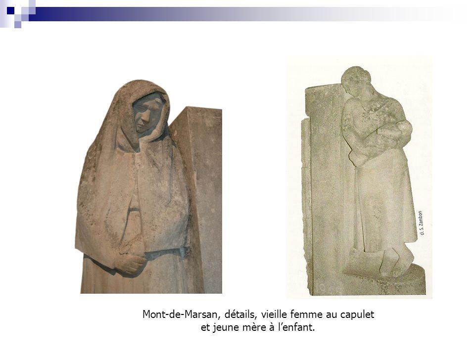 Mont-de-Marsan, détails, vieille femme au capulet et jeune mère à l'enfant.