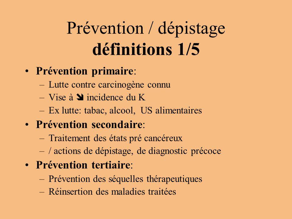 Prévention / dépistage définitions 1/5 Prévention primaire: –Lutte contre carcinogène connu –Vise à  incidence du K –Ex lutte: tabac, alcool, US alim