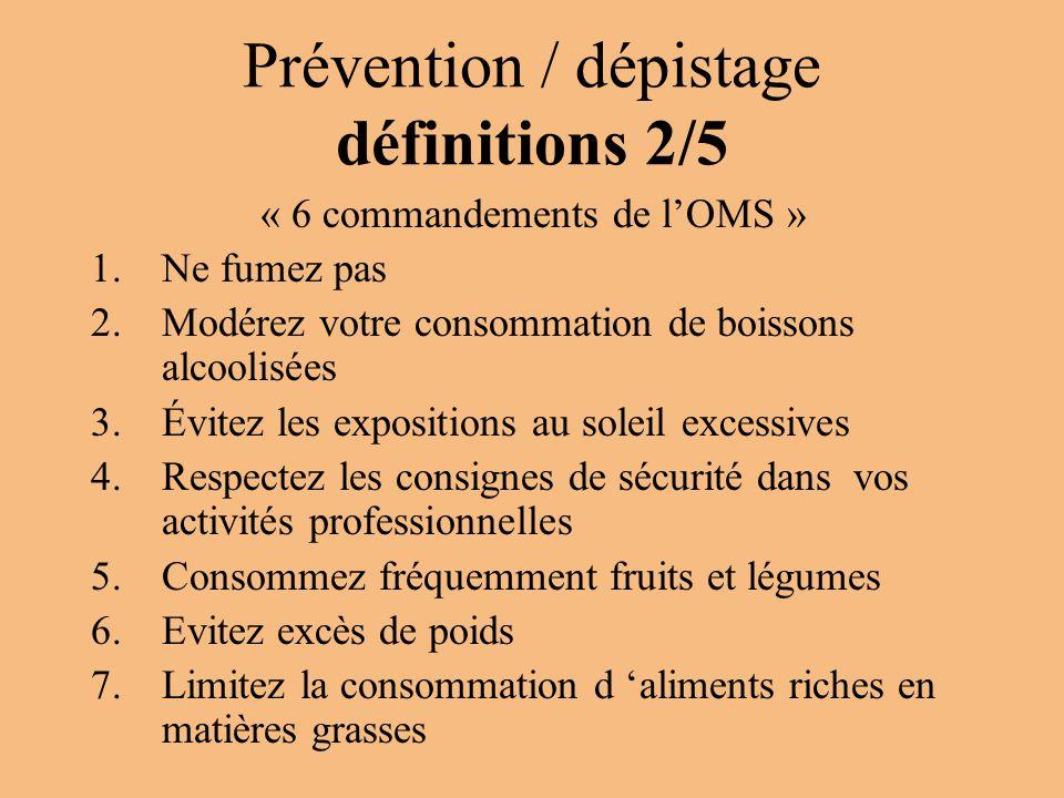 Prévention / dépistage définitions 2/5 « 6 commandements de l'OMS » 1.Ne fumez pas 2.Modérez votre consommation de boissons alcoolisées 3.Évitez les e