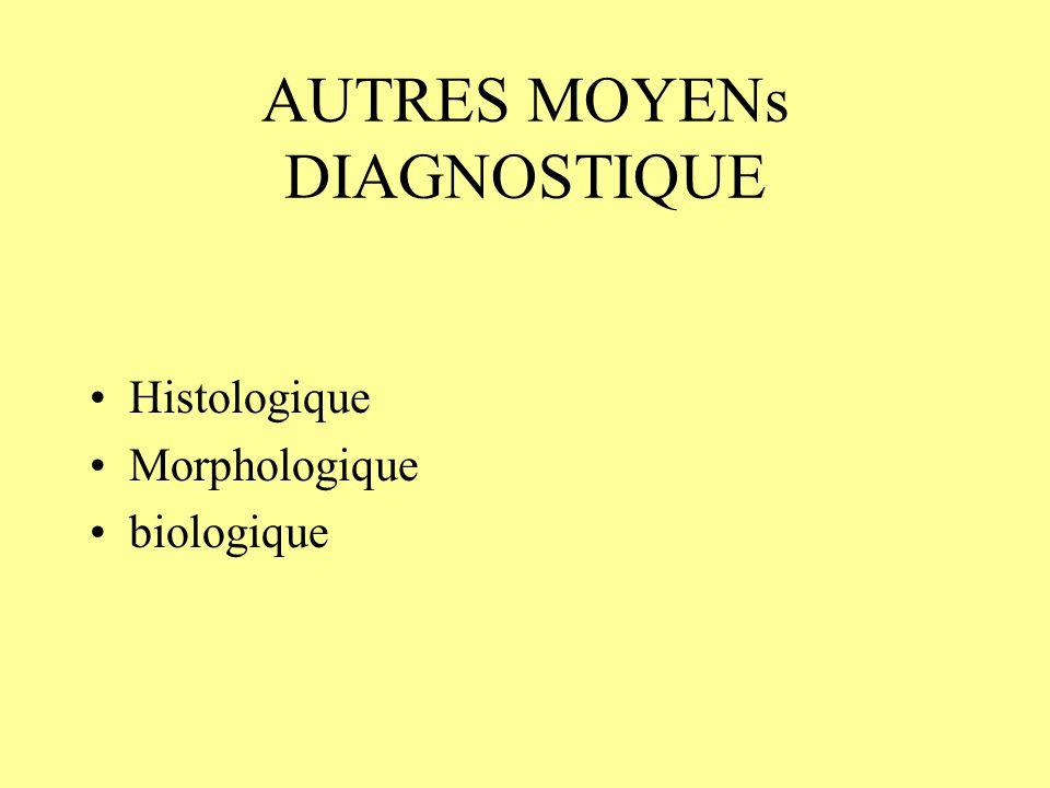 AUTRES MOYENs DIAGNOSTIQUE Histologique Morphologique biologique