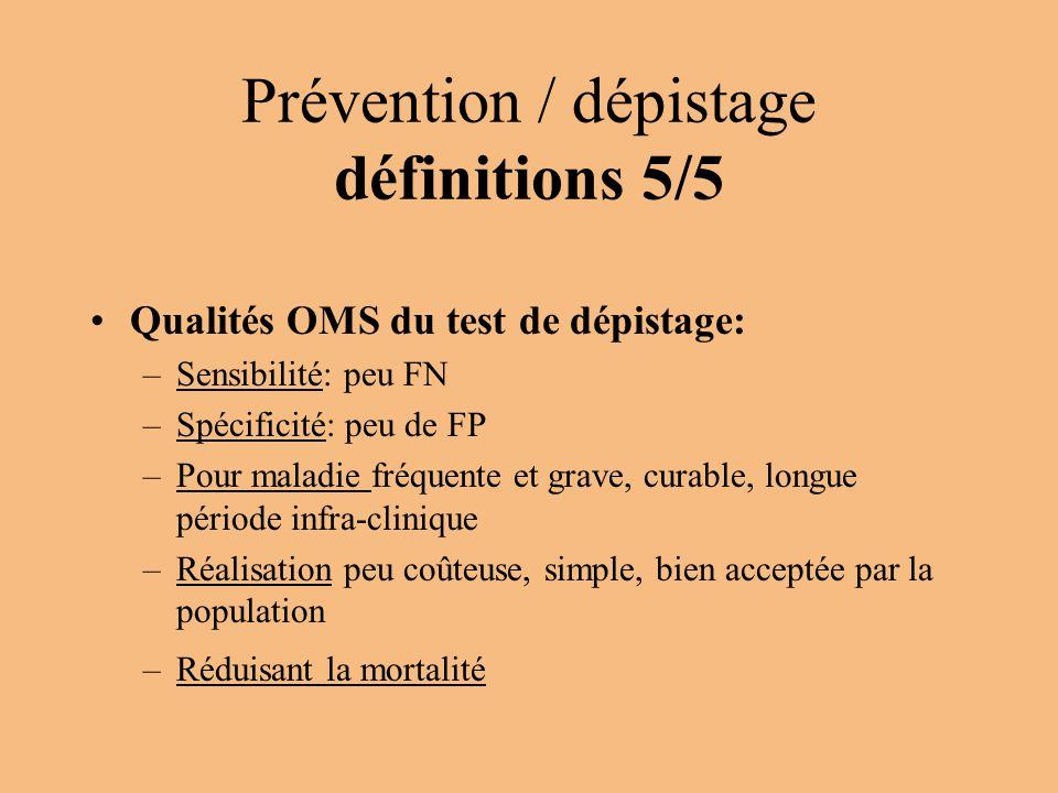 Prévention / dépistage définitions 5/5 Qualités OMS du test de dépistage: –Sensibilité: peu FN –Spécificité: peu de FP –Pour maladie fréquente et grav
