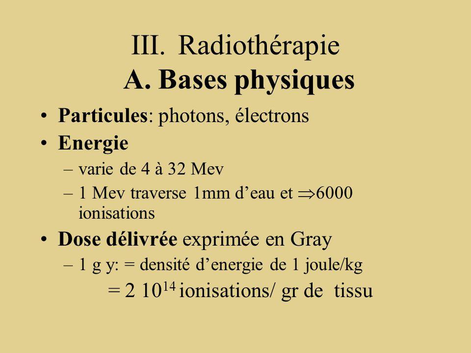 III.Radiothérapie A. Bases physiques Particules: photons, électrons Energie –varie de 4 à 32 Mev –1 Mev traverse 1mm d'eau et  6000 ionisations Dose