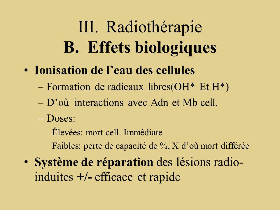 III.Radiothérapie B. Effets biologiques Ionisation de l'eau des cellules –Formation de radicaux libres(OH* Et H*) –D'où interactions avec Adn et Mb ce