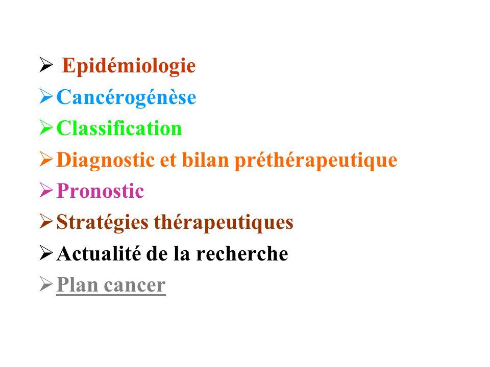  Epidémiologie  Cancérogénèse  Classification  Diagnostic et bilan préthérapeutique  Pronostic  Stratégies thérapeutiques  Actualité de la rech