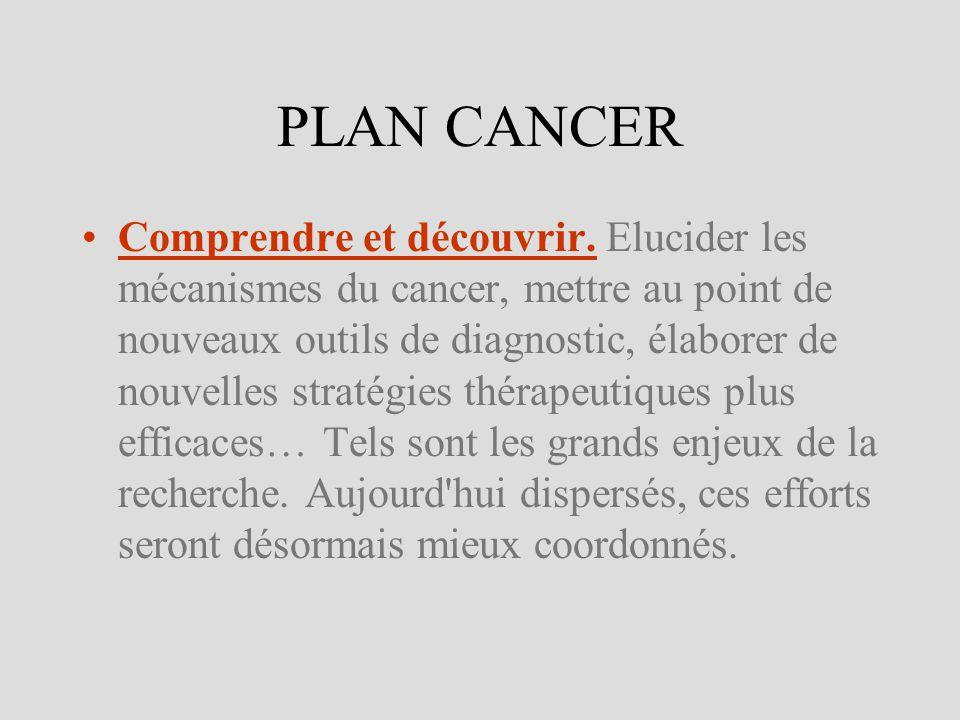 PLAN CANCER Comprendre et découvrir. Elucider les mécanismes du cancer, mettre au point de nouveaux outils de diagnostic, élaborer de nouvelles straté