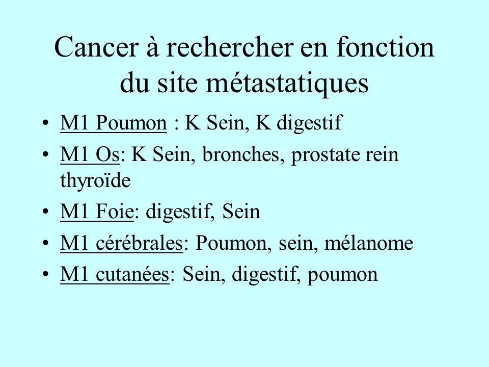 Cancer à rechercher en fonction du site métastatiques M1 Poumon : K Sein, K digestif M1 Os: K Sein, bronches, prostate rein thyroïde M1 Foie: digestif