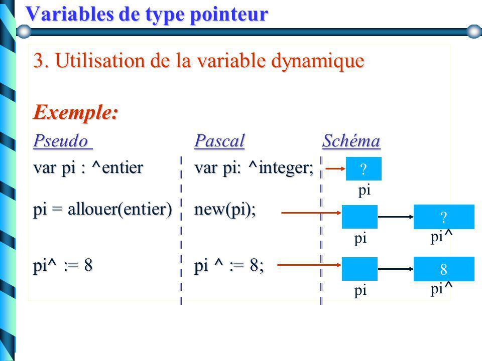 Variables de type pointeur b) initialisation de la variable pointeur par l 'adresse d'une autre variable : - Pseudo : p := adresse (variable) - Pascal