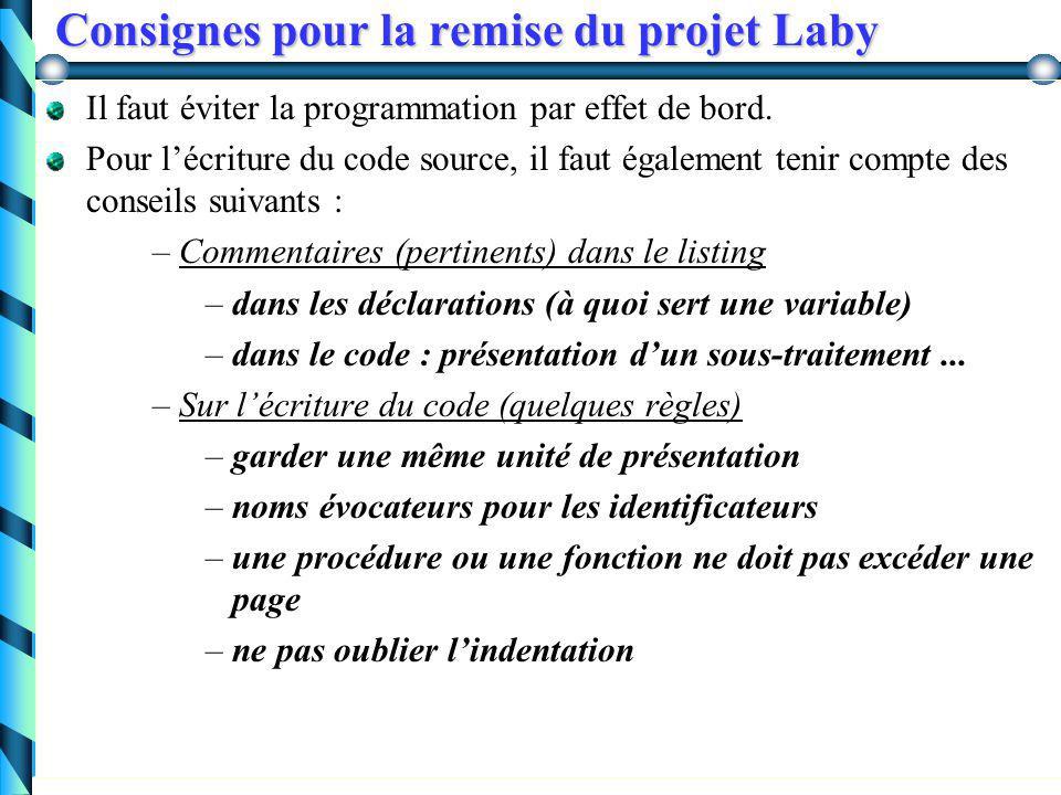 Consignes pour la remise du projet Laby Listing du programme: Pour chaque procédure ou fonction, on veut trouver au moins les informations suivantes sous l'entête :   Entrées : quelles sont-elles, quelles sont leurs propriétés...