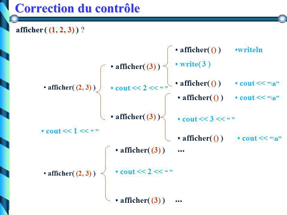 Correction du contrôle Exercice 1: Exercice 1: Soit le type liste simplement chaînée codant une suite d'entiers. Qu'affiche la procédure suivante pour