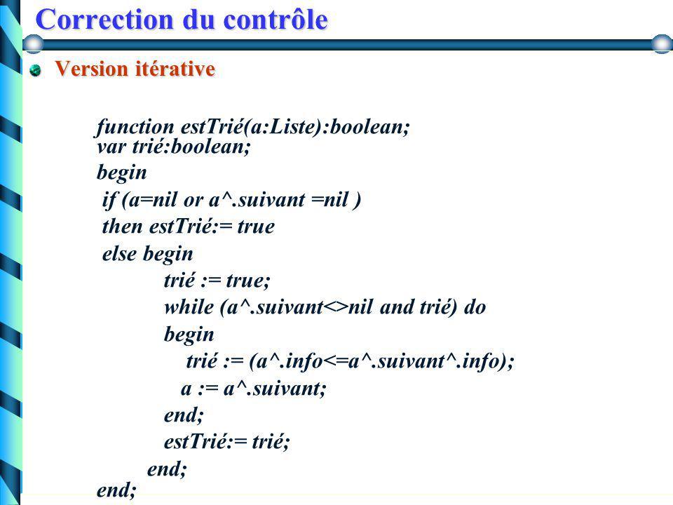 Correction du contrôle Ecrire les procédures ou fonctions suivantes : Vérification qu'une liste est triée par ordre croissant.Vérification qu'une list