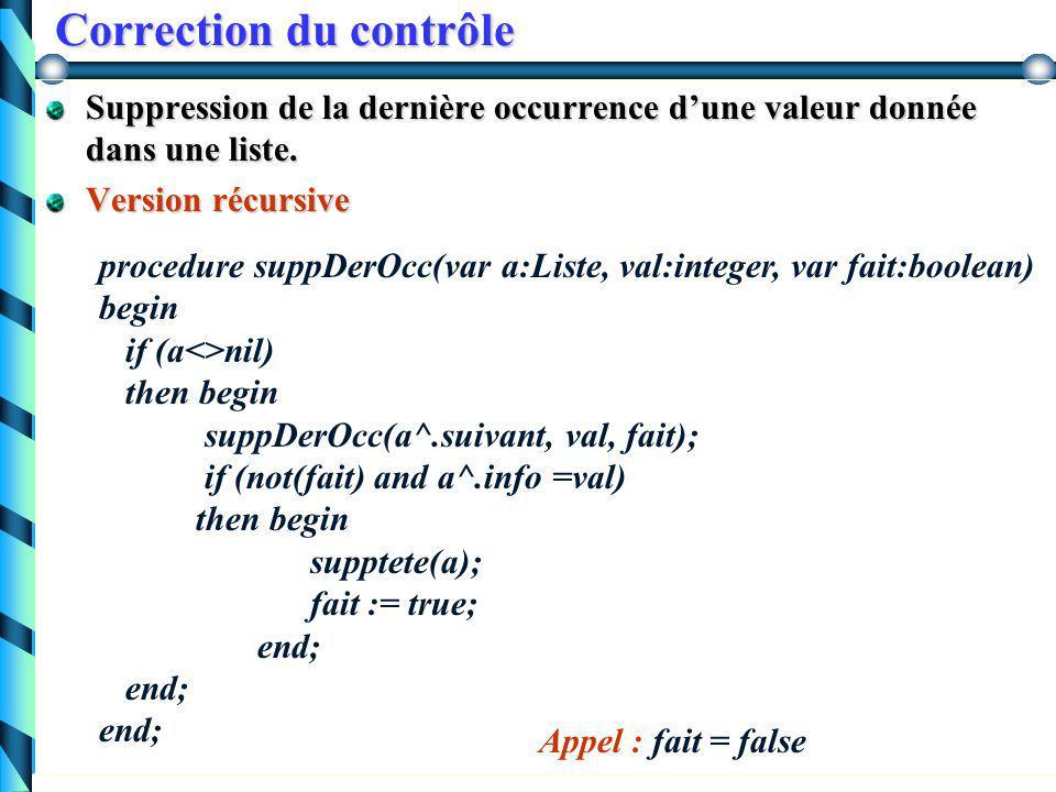 Correction du contrôle Suppression de la dernière occurrence d'une valeur donnée dans une liste. Version itérative procedure suppDerOcc(var a: Liste,