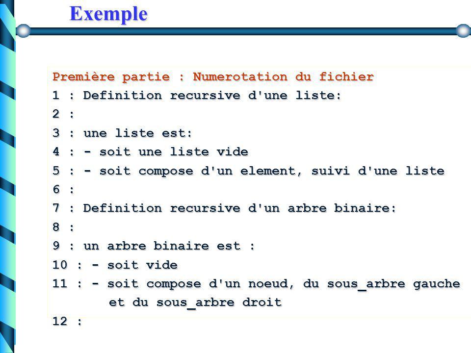 Exemple Soit un fichier texte contenant les lignes suivantes : Definition recursive d'une liste: une liste est: - soit une liste vide - soit compose d