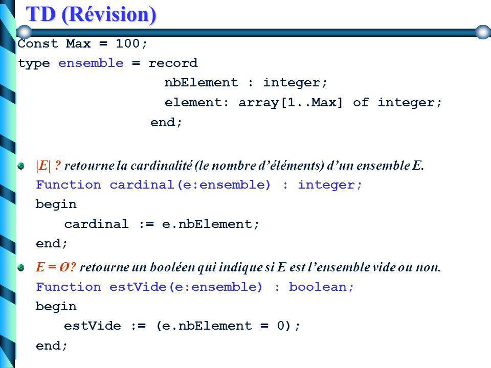 TD (Révision) |E| ? retourne la cardinalité (le nombre d'éléments) d'un ensemble E. E = Ø? retourne un booléen qui indique si E est l'ensemble vide ou