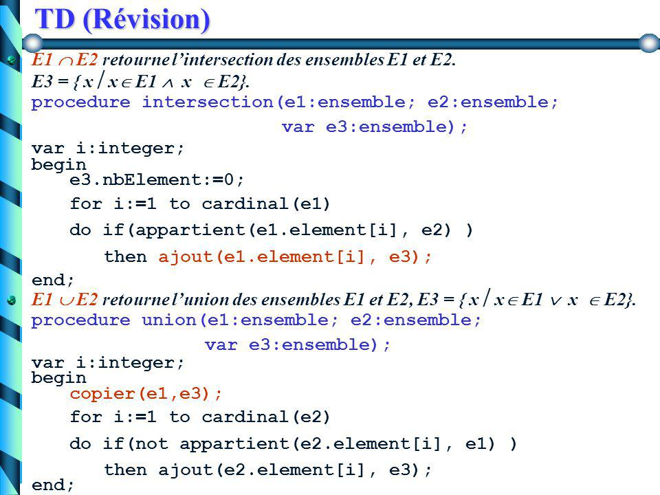 TD (Révision) x  E. retourne un booléen indiquant si un élément x appartient à un ensemble E.