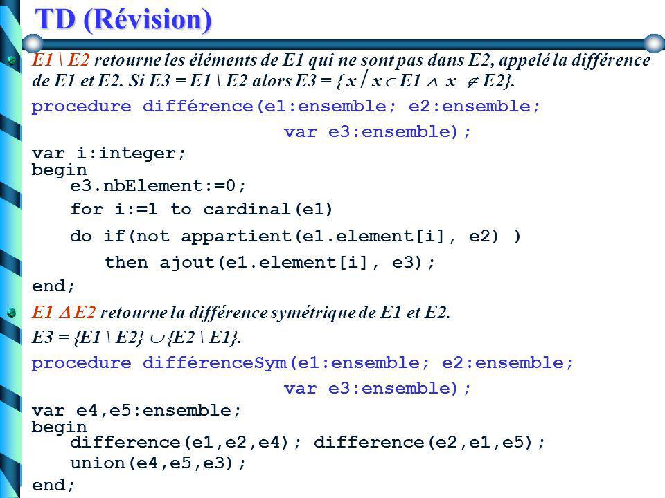 TD (Révision) E1  E2 retourne l'intersection des ensembles E1 et E2. E3 = { x  x  E1  x  E2}. procedure intersection(e1:ensemble; e2:ensemble; va