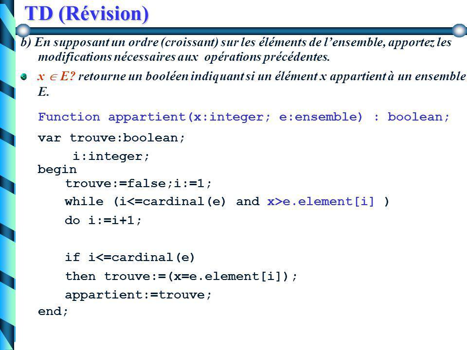 TD (Révision) E1 = E2? retourne un booléen qui indique si les 2 ensembles contiennent exactement les mêmes éléments function egal(e1,e2:ensemble):bool