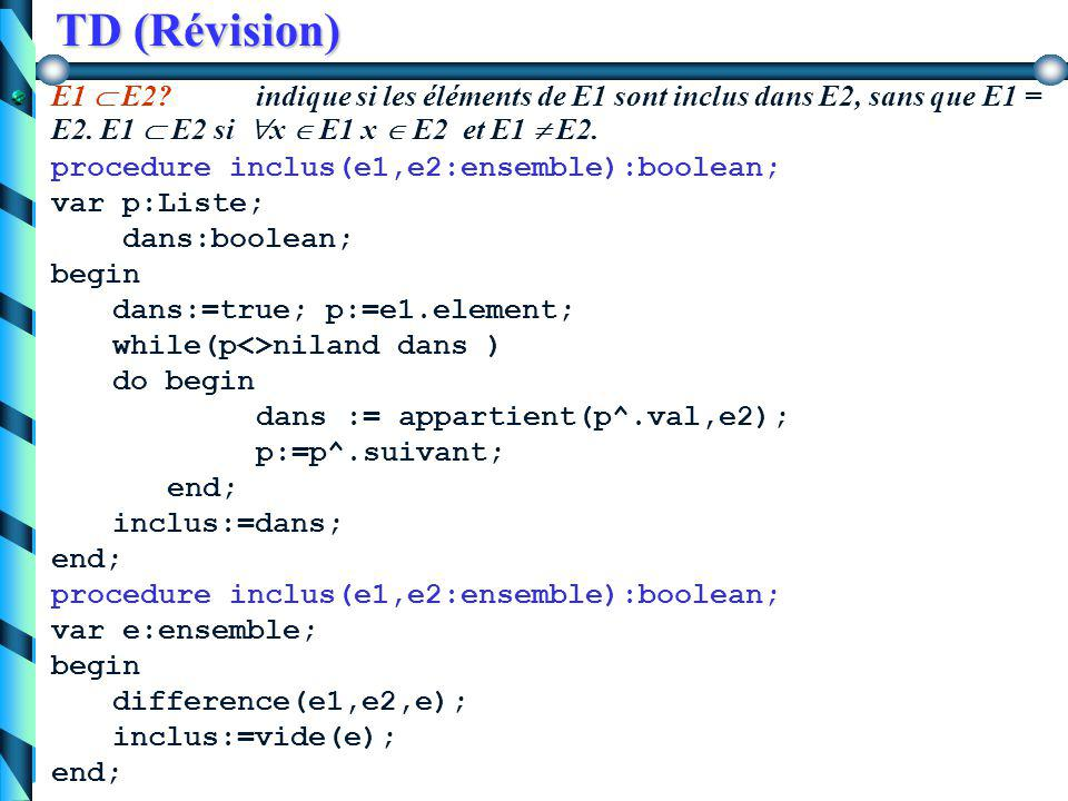 TD (Révision) E2  E1 - x  E2 = E1 \ {x} procedure supprimer(x:integer; var e:ensemble); var p, prec:Liste begin p:=e.element; prec:=nil; while(p<>nil and x<>p.val) do begin pres:=p; p:=p^.suivant; end; if(p<>nil) then begin e.nbElement:=e.nbElement-1; if ( prec=nil) then supptete(e.element) else supptete(prec^.suivant); end;