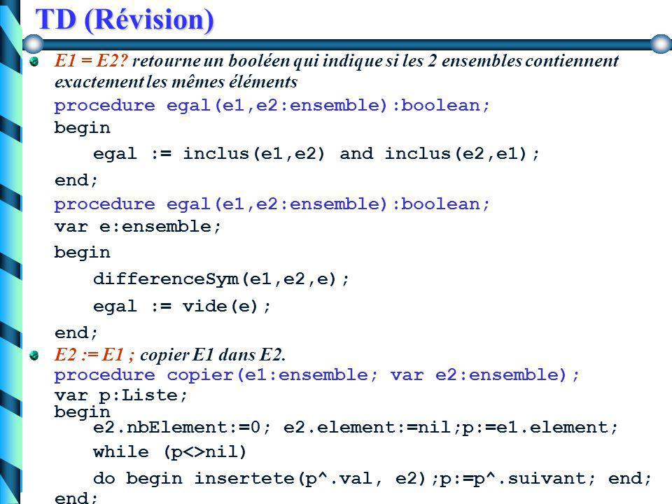 TD (Révision) E1  E2?indique si les éléments de E1 sont inclus dans E2, sans que E1 = E2. E1  E2 si  x  E1 x  E2 et E1  E2. procedure inclus(e1,