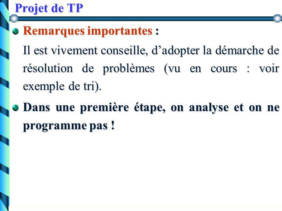 Projet de TP Le programme doit permettre deux possibilités de jeux  entre deux joueurs humains  entre un joueur humain et la machine.