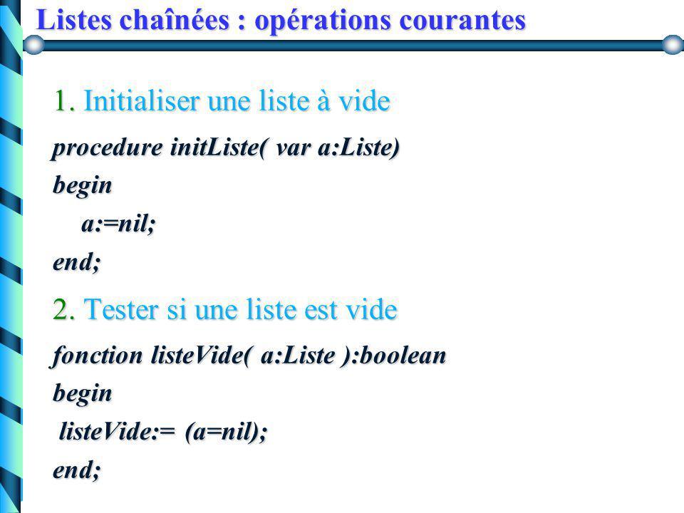 Listes chaînées : manipulation 3. Création de la liste a contenant (x, y ) : new(p); p^.info := x; p^.suivant := a; a := p; on obtient : p x p y a x p