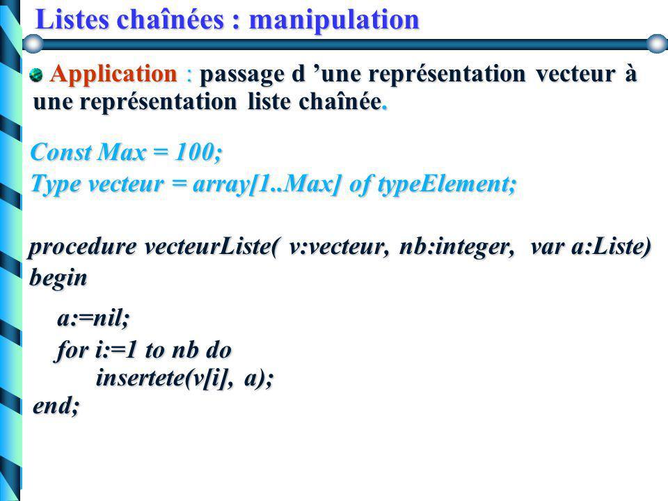Listes chaînées : opérations courantes 3. Insertion en tête de la liste procedure insertête(elem :typeElement, var a:Liste) var p:Liste; beginnew(p);