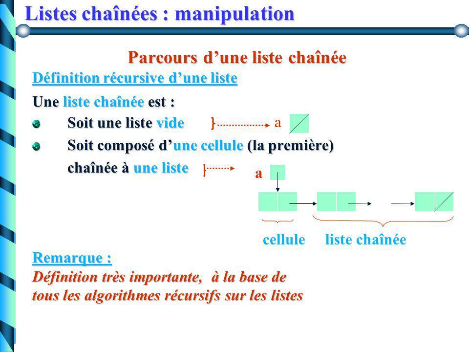Listes chaînées : manipulation Application : passage d 'une représentation vecteur à une représentation liste chaînée. Application : passage d 'une re