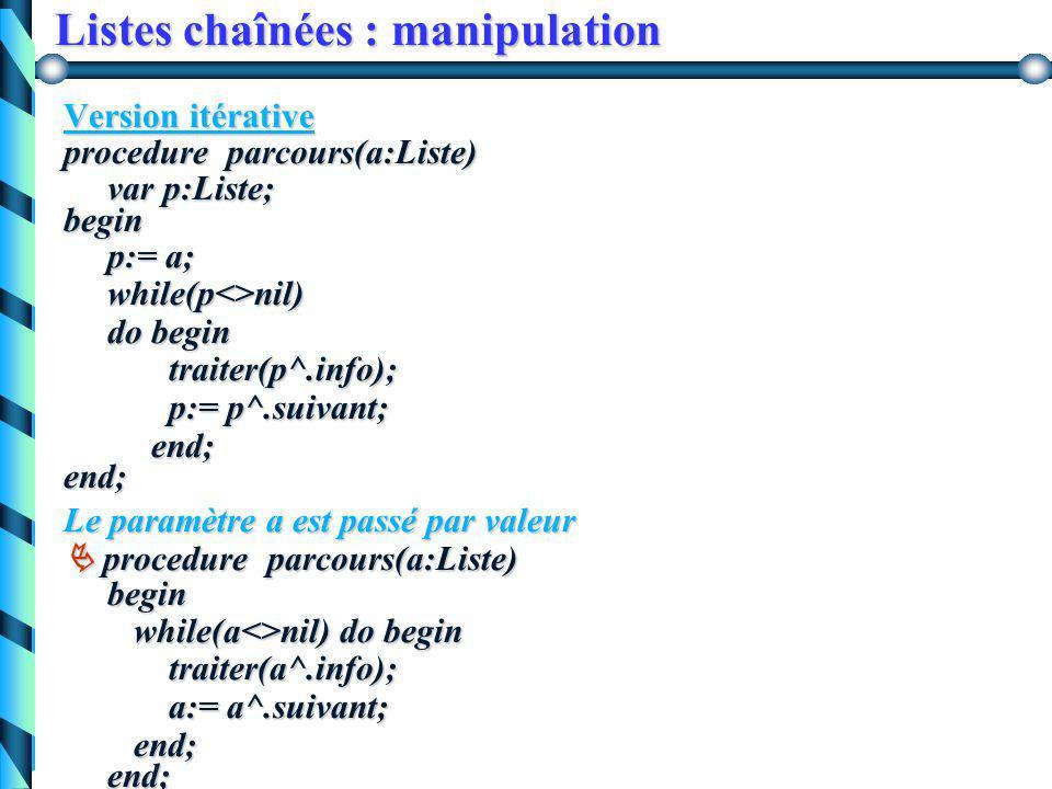Listes chaînées : manipulation Second parcours 1. On effectue le parcours de la sous-liste 2. On traite la cellule courante (première) procedure parco
