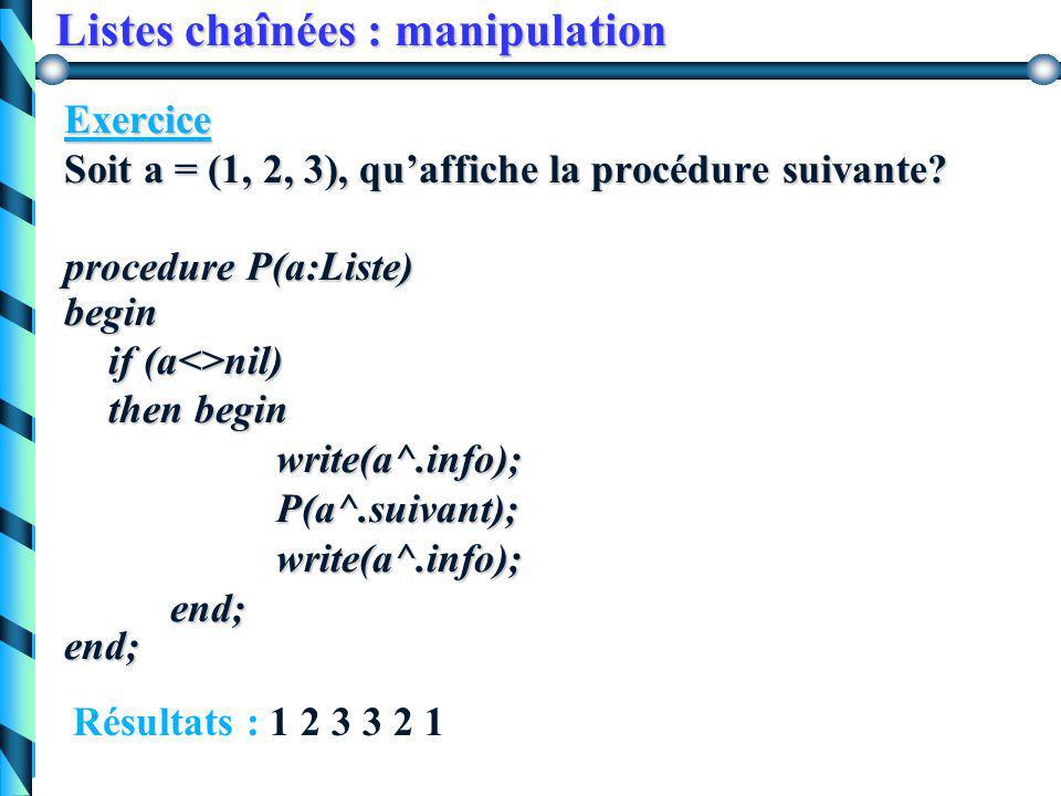 Listes chaînées : manipulation Version itérative procedure parcours(a:Liste) var p:Liste; var p:Liste;begin p:= a; while(p<>nil) do begin traiter(p^.i