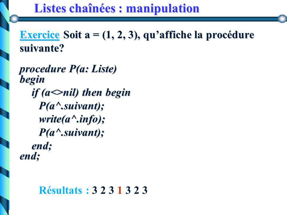 Listes chaînées : manipulation Exercice Soit a = (1, 2, 3), qu'affiche la procédure suivante? procedure P(a:Liste) begin if (a<>nil) then begin write(