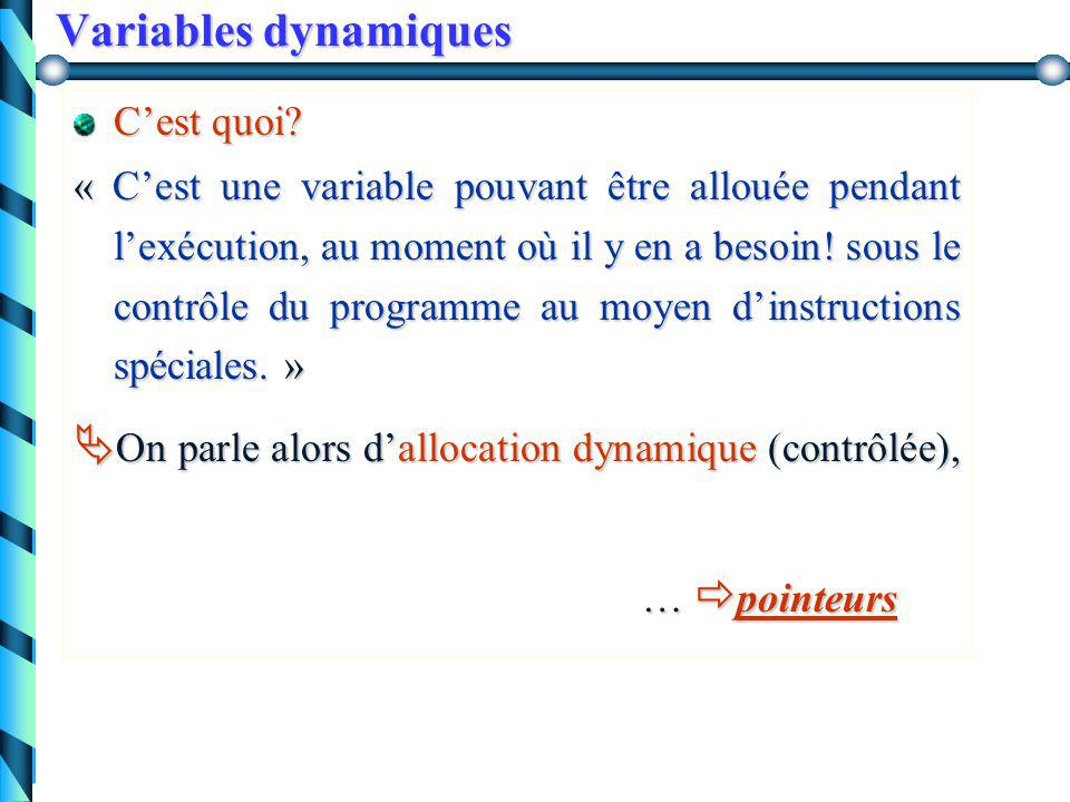 Variables dynamiques C'est quoi.