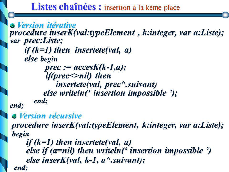 Listes chaînées : quelques algorithmes Algorithmes d'insertion b) insertion à la kème place algorithme d'insertion d'une valeur à la kème place données : val : typeElement k : entier a : Liste résultats : a : Liste Spécifications : insertion d'une valeur donnée val à la kème place de la liste a (si possible) 5983 a (k-1) val=7 p 7 (k) 3 prec k=3