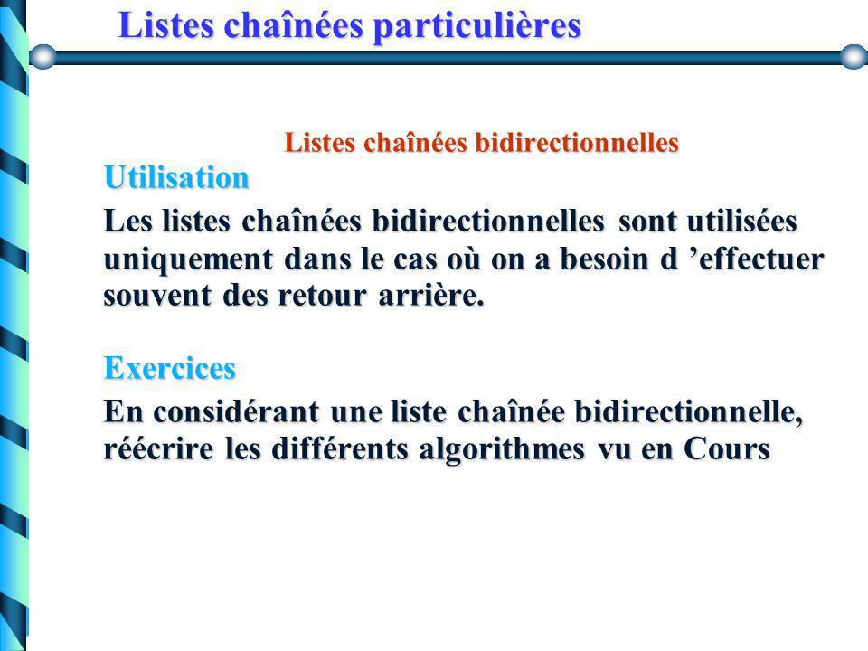 Listes chaînées particulières Listes chaînées bidirectionnelles SchémaReprésentation type ListeBi = ^cellule cellule = record cellule = record info :