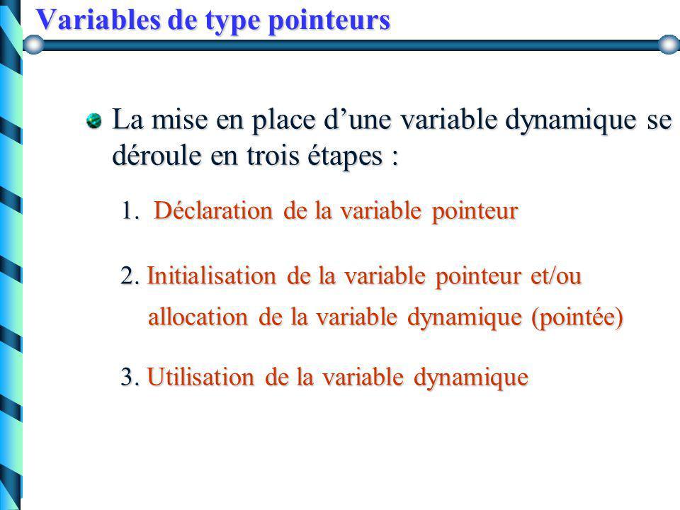 Variables de type pointeur Définition : une variable de type pointeur est une variable dont la valeur est l'adresse d'une autre variable. a p p^p^ 200