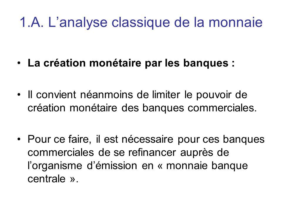1.A. L'analyse classique de la monnaie La création monétaire par les banques : Il convient néanmoins de limiter le pouvoir de création monétaire des b