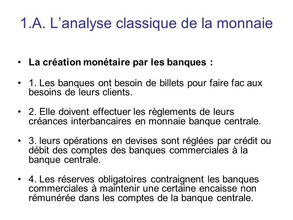 1.A. L'analyse classique de la monnaie La création monétaire par les banques : 1. Les banques ont besoin de billets pour faire fac aux besoins de leur