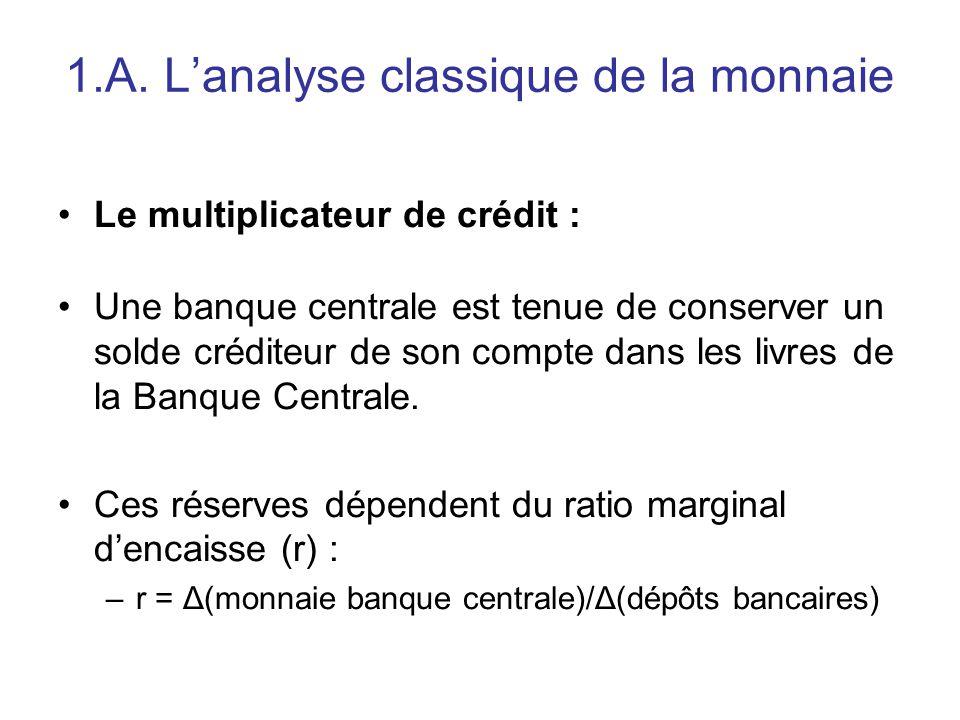 1.A. L'analyse classique de la monnaie Le multiplicateur de crédit : Une banque centrale est tenue de conserver un solde créditeur de son compte dans