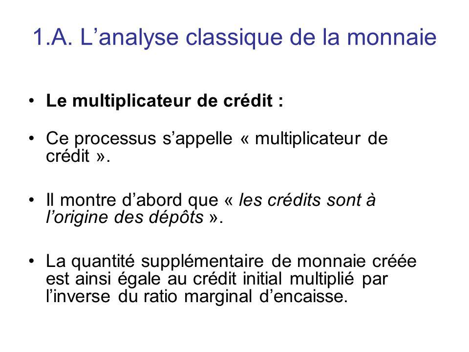 1.A. L'analyse classique de la monnaie Le multiplicateur de crédit : Ce processus s'appelle « multiplicateur de crédit ». Il montre d'abord que « les