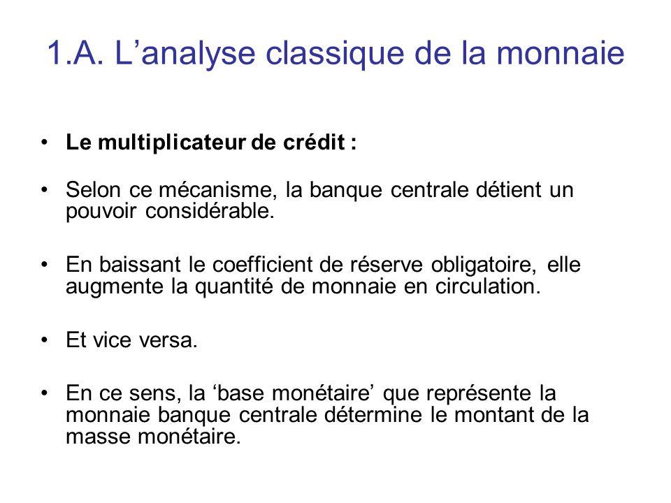 1.A. L'analyse classique de la monnaie Le multiplicateur de crédit : Selon ce mécanisme, la banque centrale détient un pouvoir considérable. En baissa