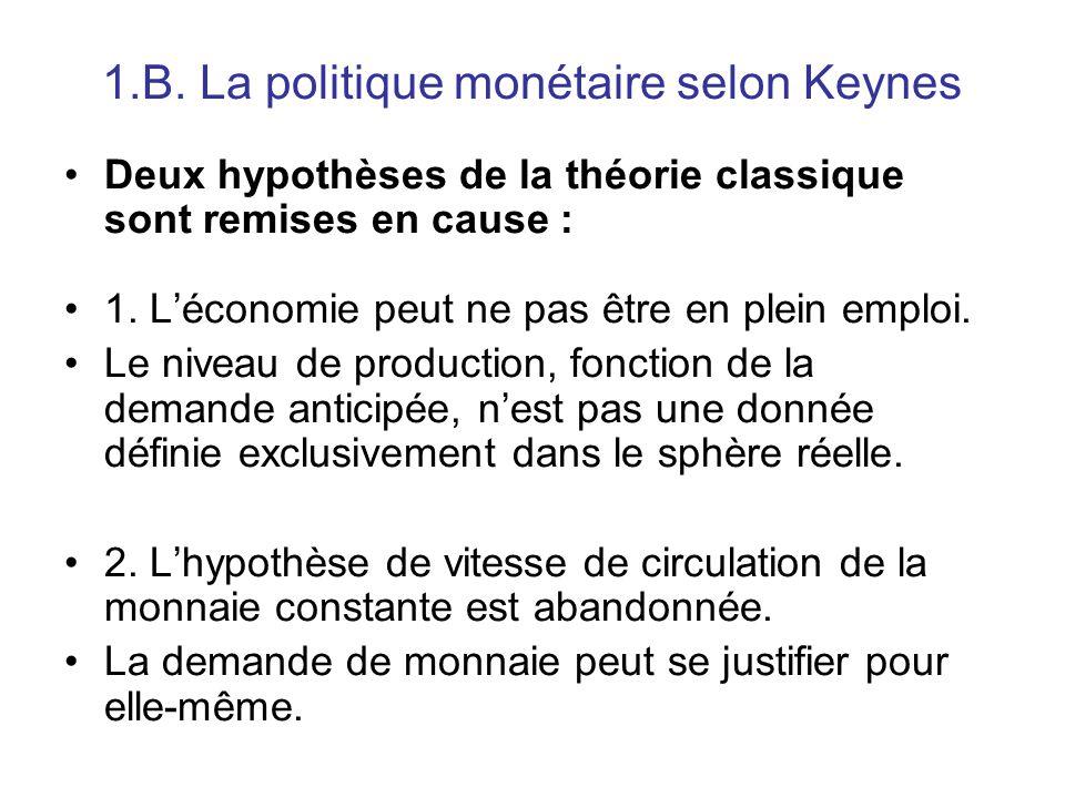 1.B. La politique monétaire selon Keynes Deux hypothèses de la théorie classique sont remises en cause : 1. L'économie peut ne pas être en plein emplo