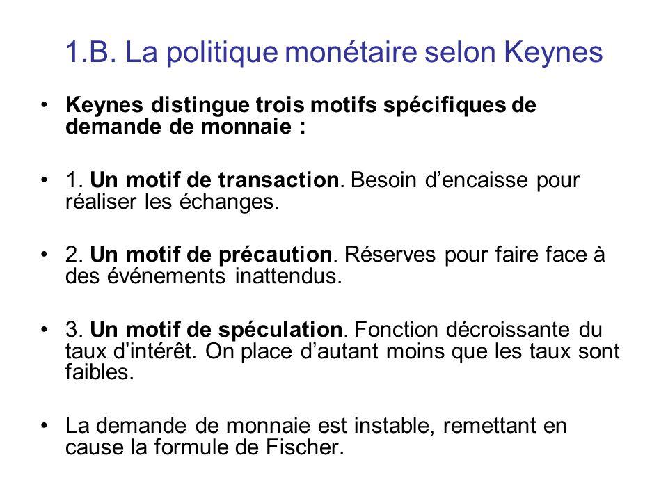 1.B. La politique monétaire selon Keynes Keynes distingue trois motifs spécifiques de demande de monnaie : 1. Un motif de transaction. Besoin d'encais