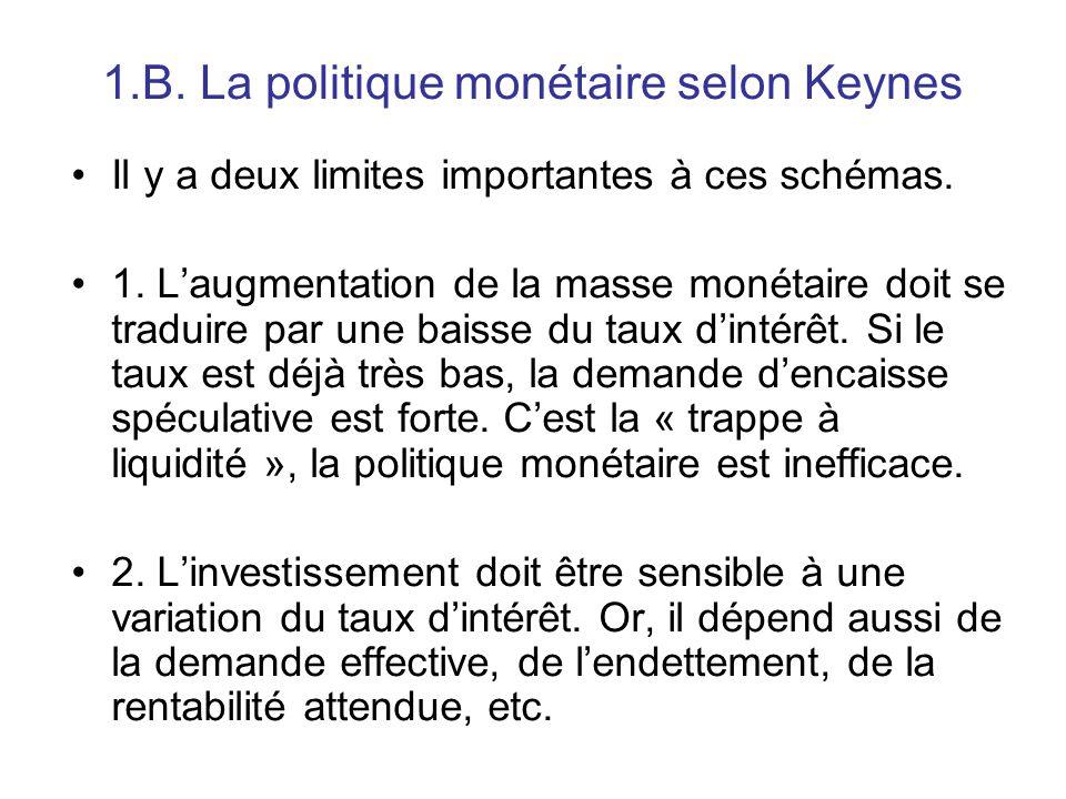 1.B. La politique monétaire selon Keynes Il y a deux limites importantes à ces schémas. 1. L'augmentation de la masse monétaire doit se traduire par u