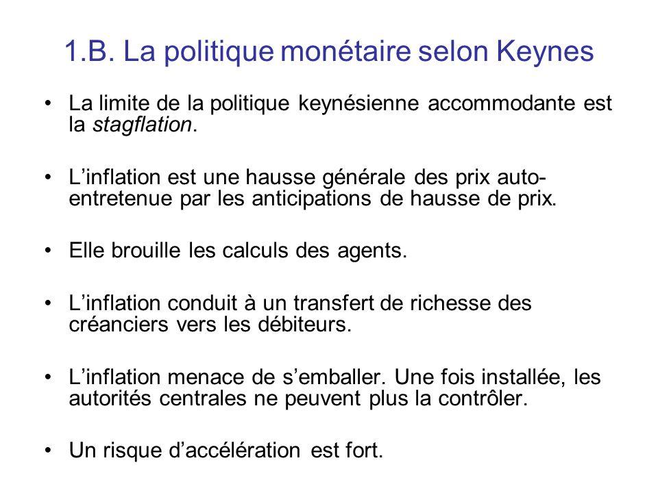 1.B. La politique monétaire selon Keynes La limite de la politique keynésienne accommodante est la stagflation. L'inflation est une hausse générale de