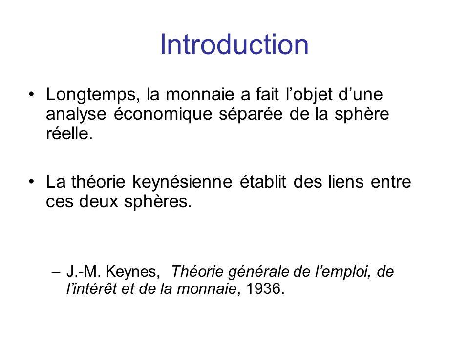 Introduction Longtemps, la monnaie a fait l'objet d'une analyse économique séparée de la sphère réelle. La théorie keynésienne établit des liens entre